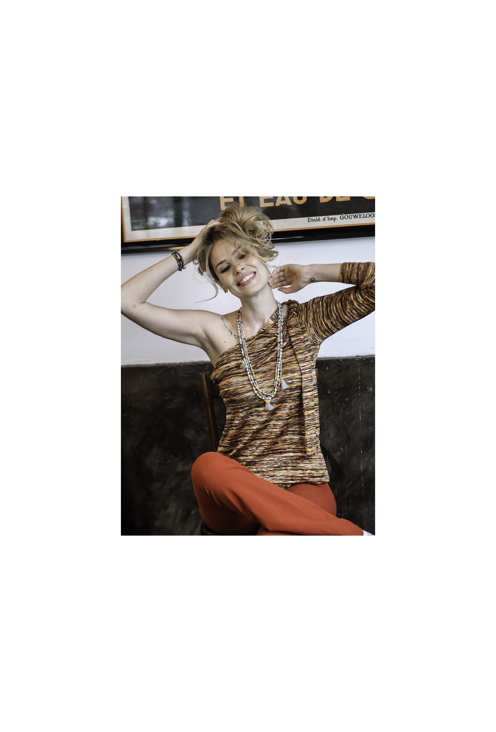 Bluzka asymetryczna DOLLY BLOUSE LTD kolorwa