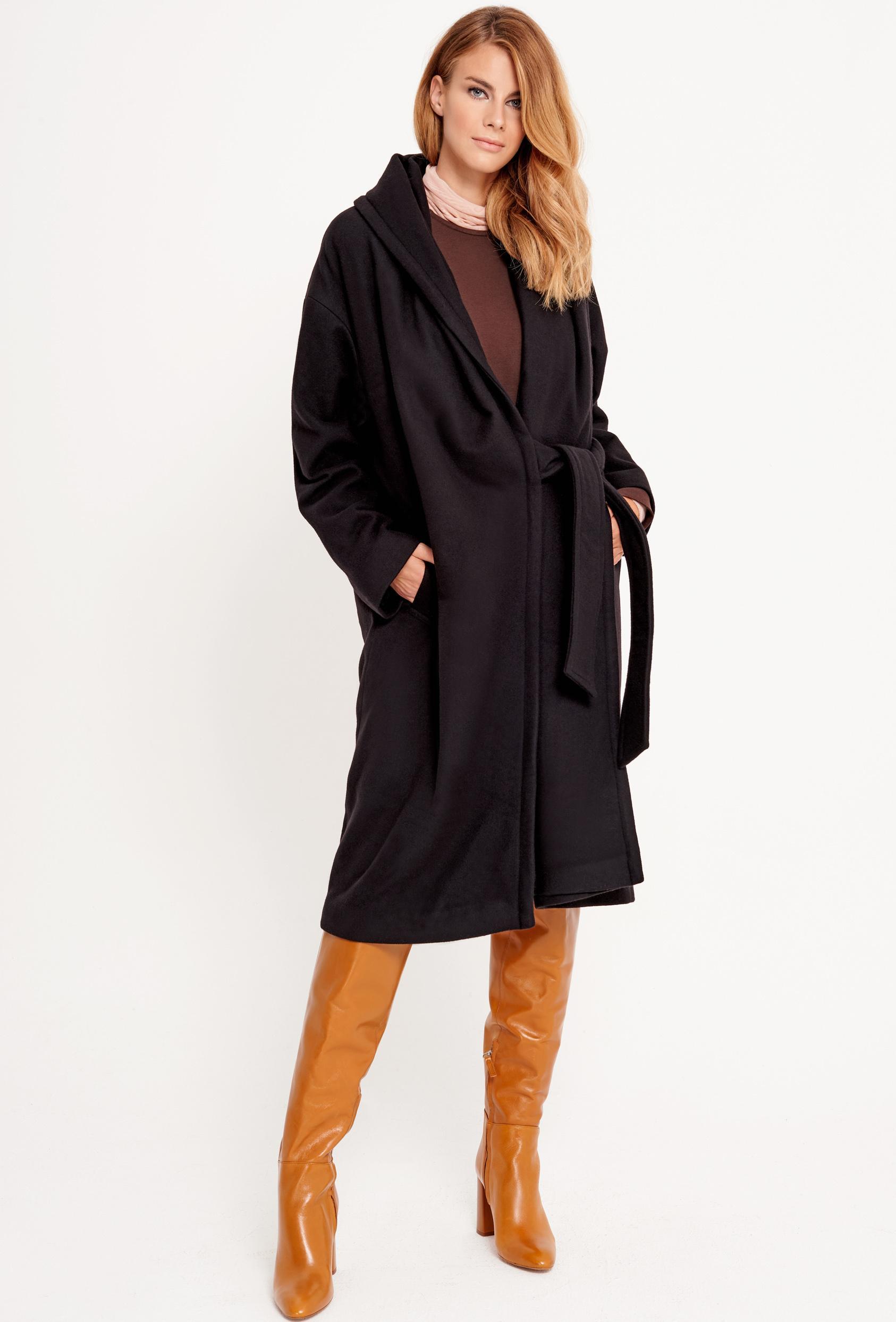 Płaszcz wiązany GERALDINE COAT czarny