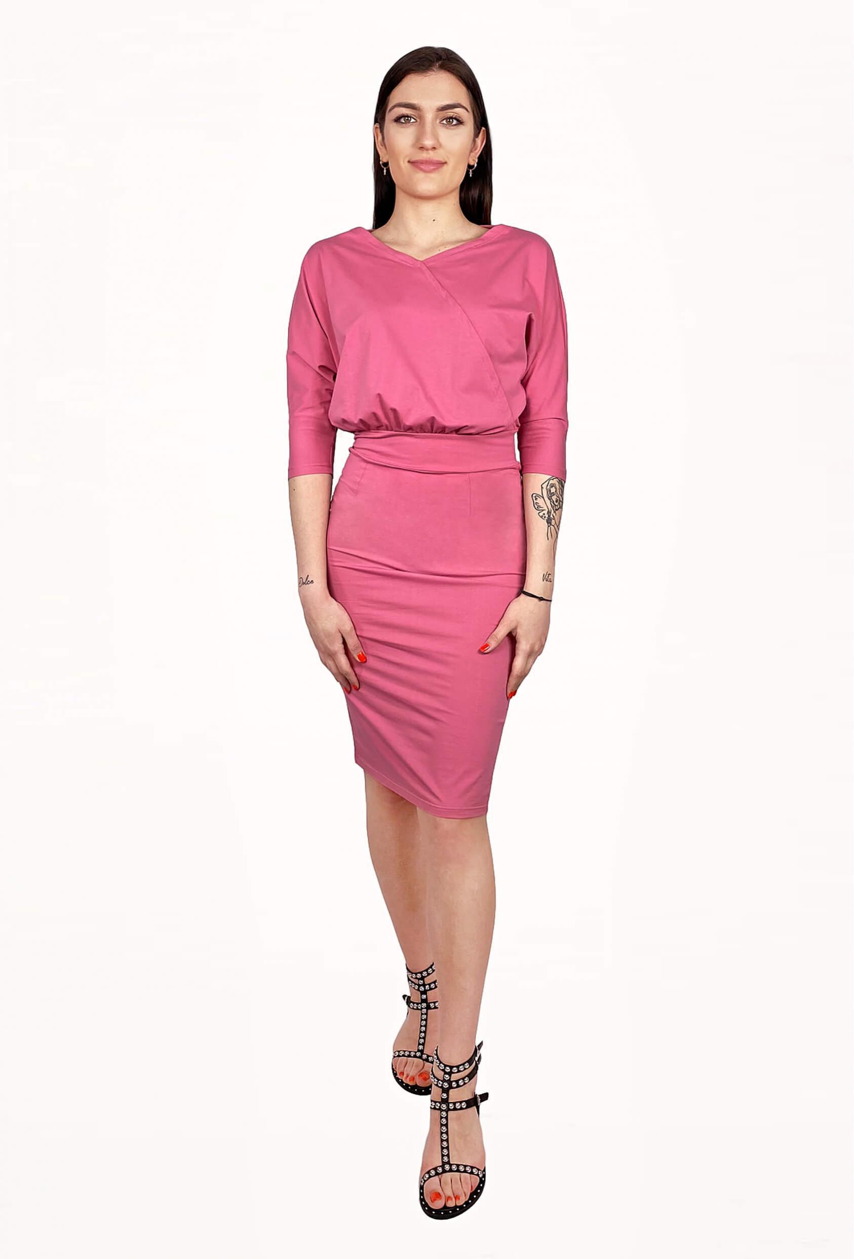 Sukienka midi ALINA DRESS malinowa