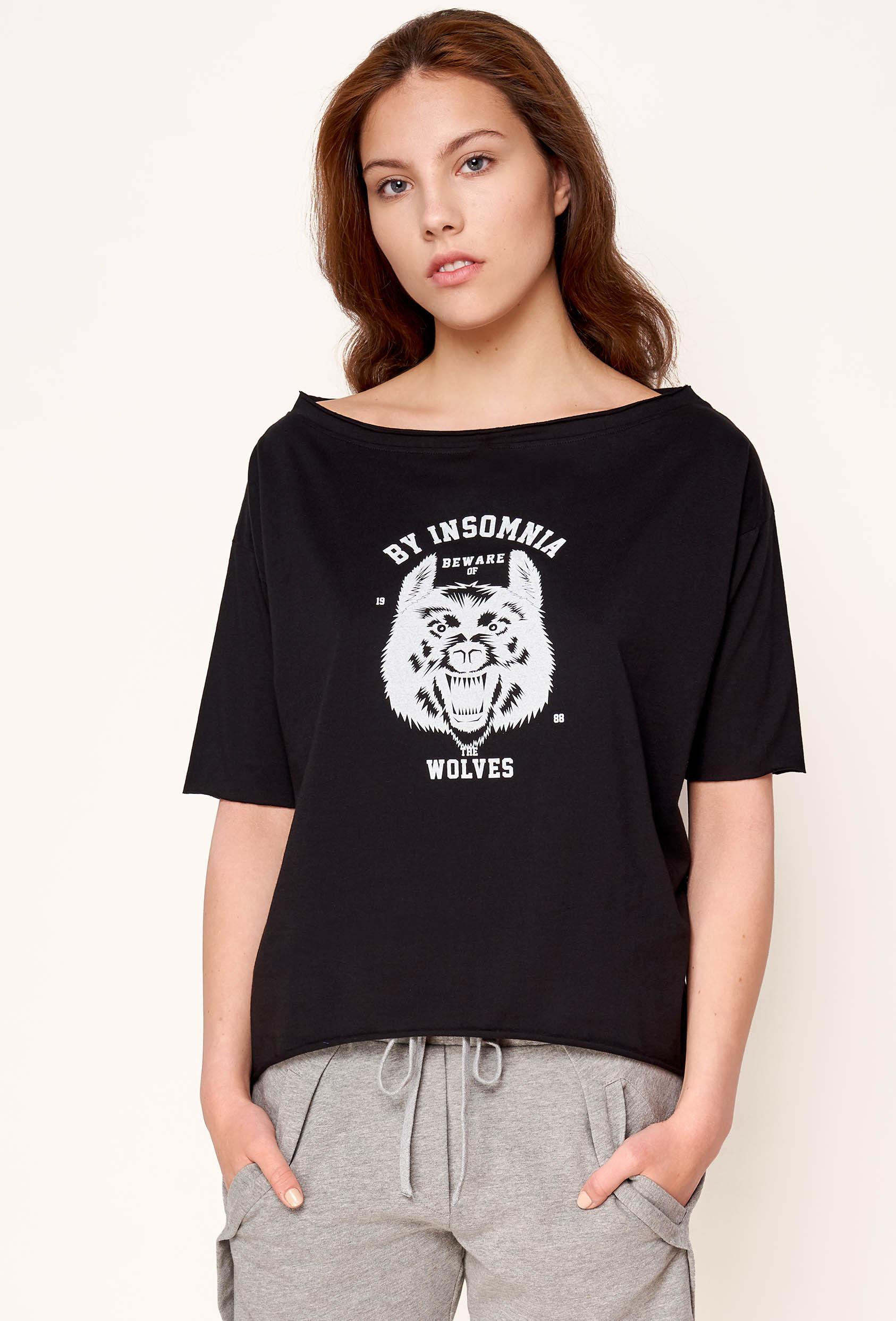 "Koszulka oversize MEGAN T-SHIRT 2 ""WOLF"" czarna"