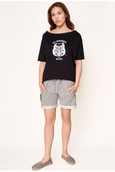 "Koszulka oversize MEGAN T-SHIRT 2 ""WOLF"" czarna_1"