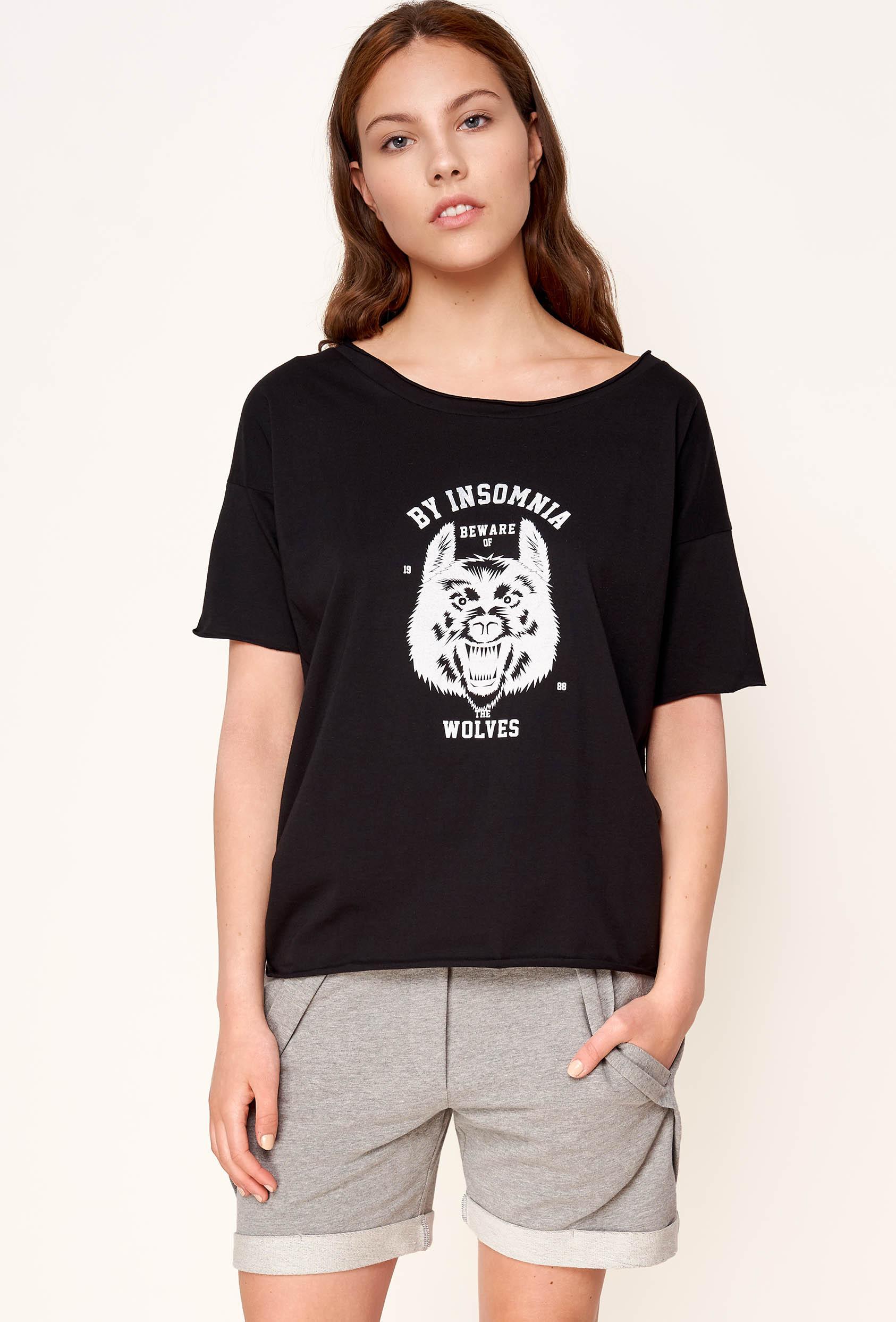 """Koszulka prosta SABINA T-SHIRT """"WOLF"""" czarna"""