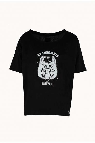 """Koszulka prosta SABINA T-SHIRT """"WOLF"""" czarna_2"""