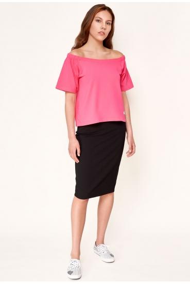 Bluzka z krótkim rękawem EVELYNE BLOUSE różowa_1