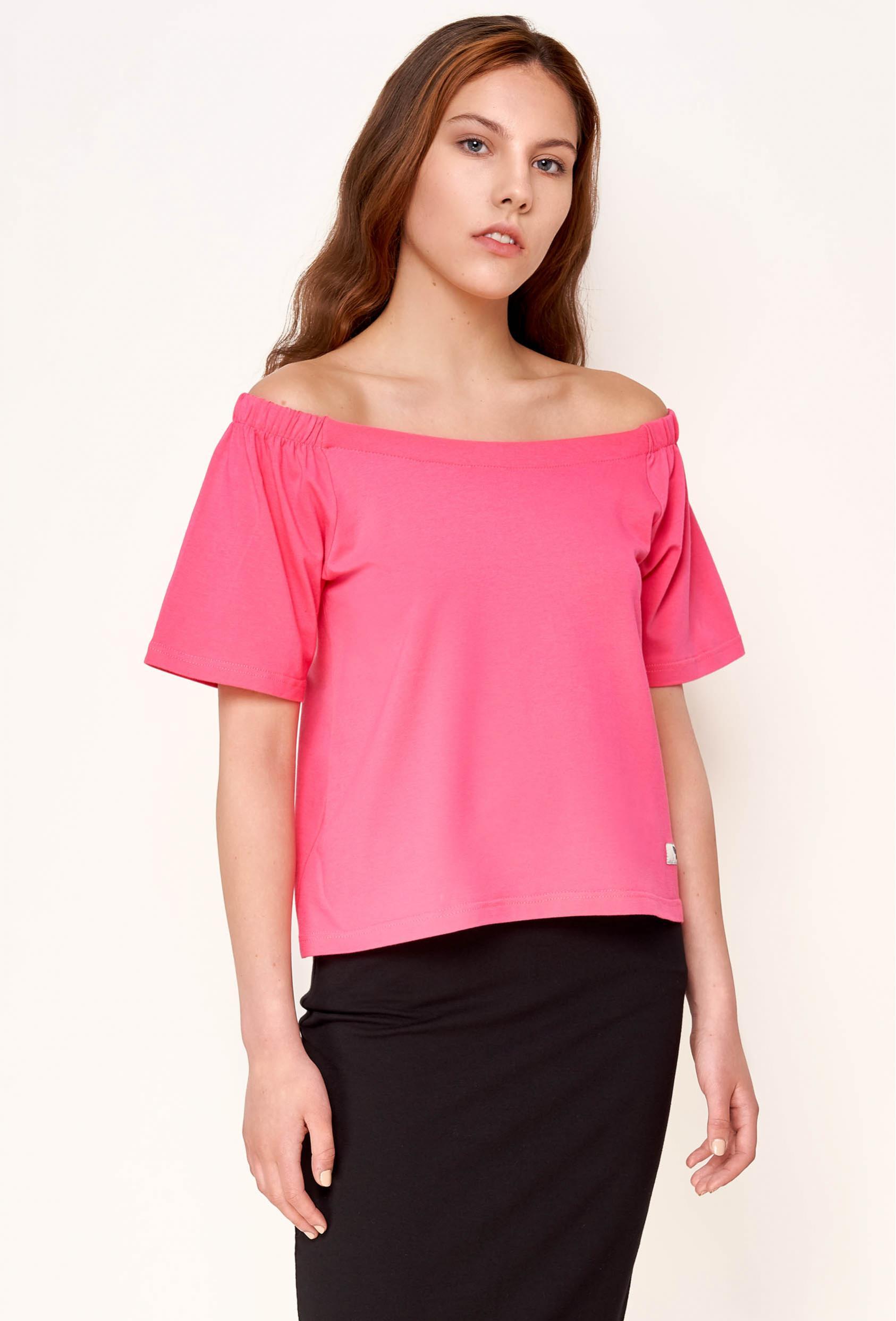 Bluzka z krótkim rękawem EVELYNE BLOUSE różowa