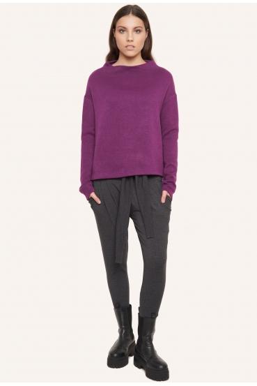 Sweter pudełkowy SAFFI SWEATER fioletowy_2