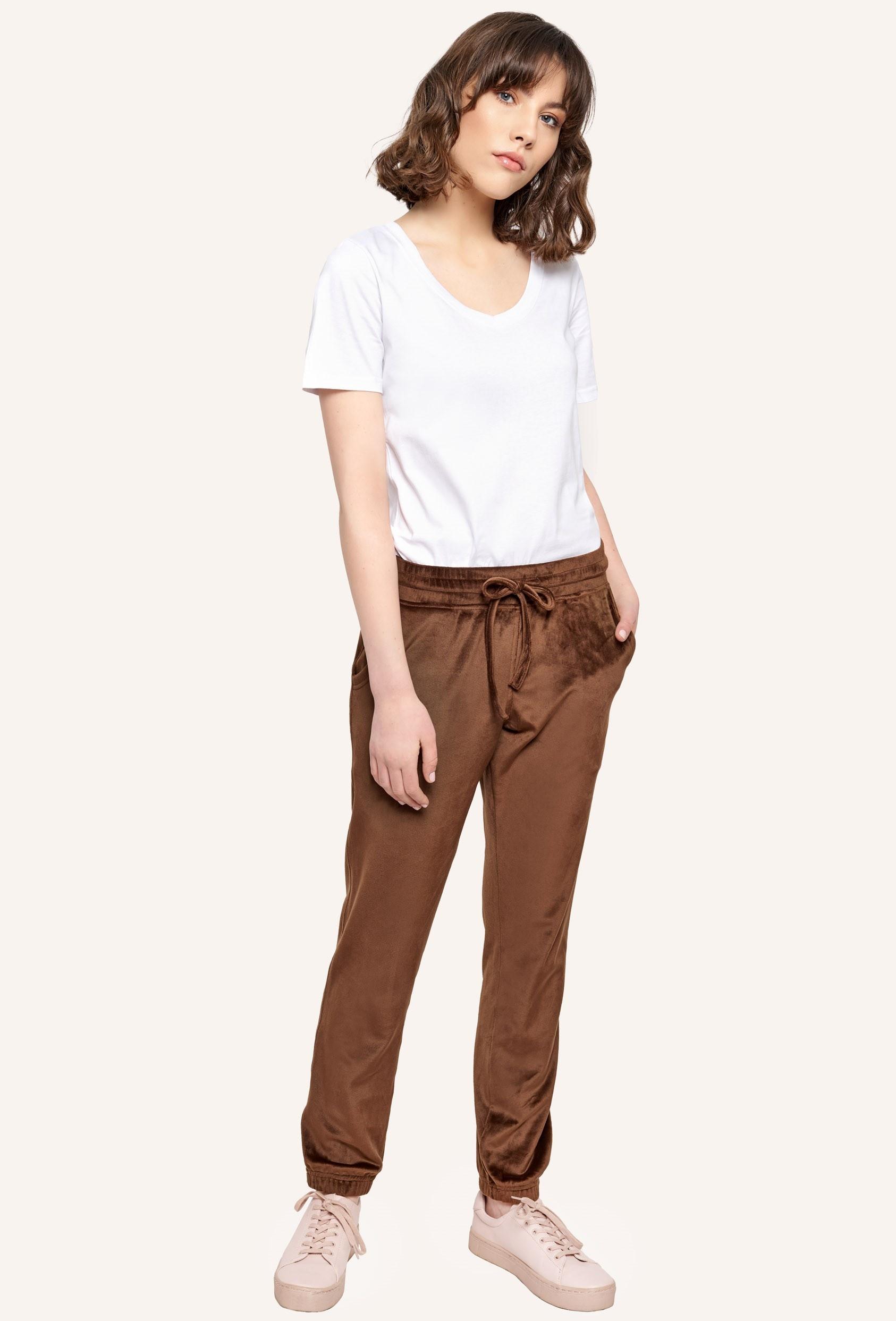 Spodnie welurowe MADALINE PANTS LTD brązowe
