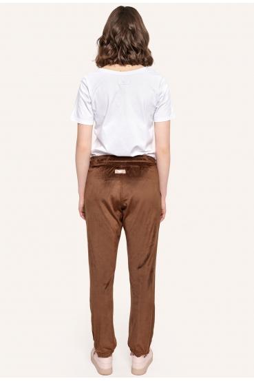 Spodnie welurowe MADALINE PANTS LTD brązowe_1