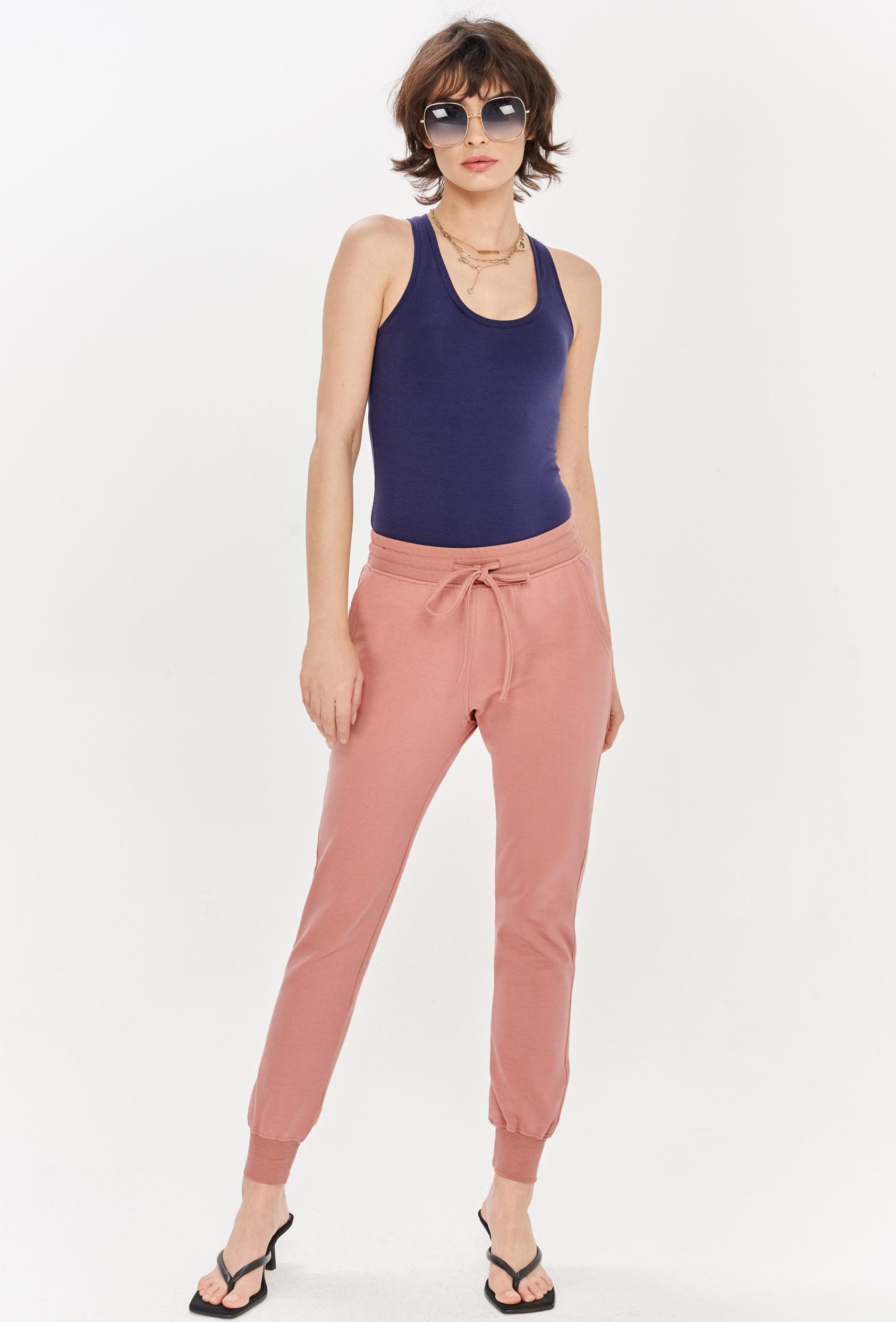 Spodnie bawełniane MADALINE PANTS różowe