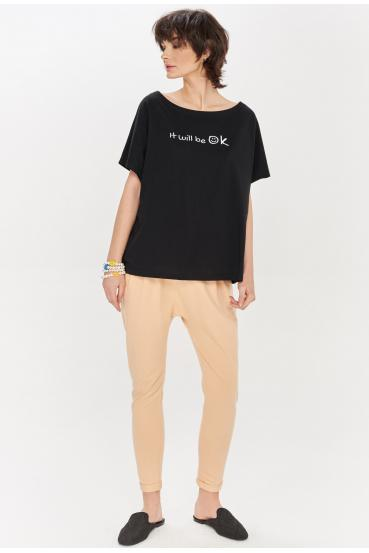 "Koszulka oversize NANETTE T-SHIRT ""OK"" czarna_1"