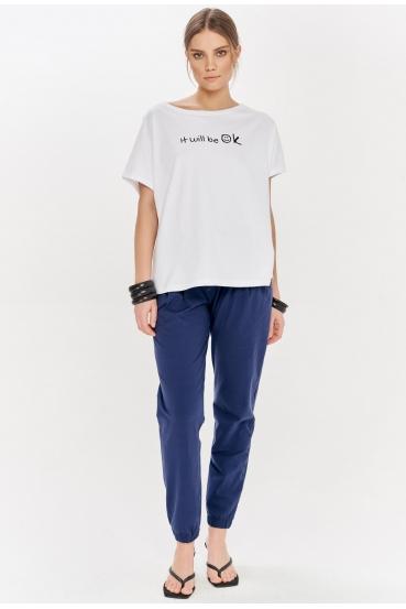 "Koszulka oversize NANETTE T-SHIRT ""OK"" biała_1"