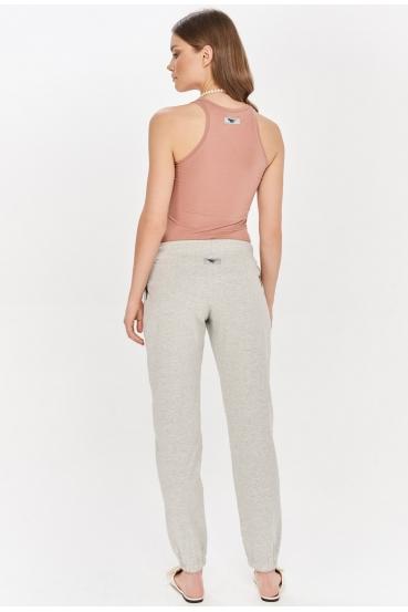 Spodnie bawełniane DELORA PANTS szare_1
