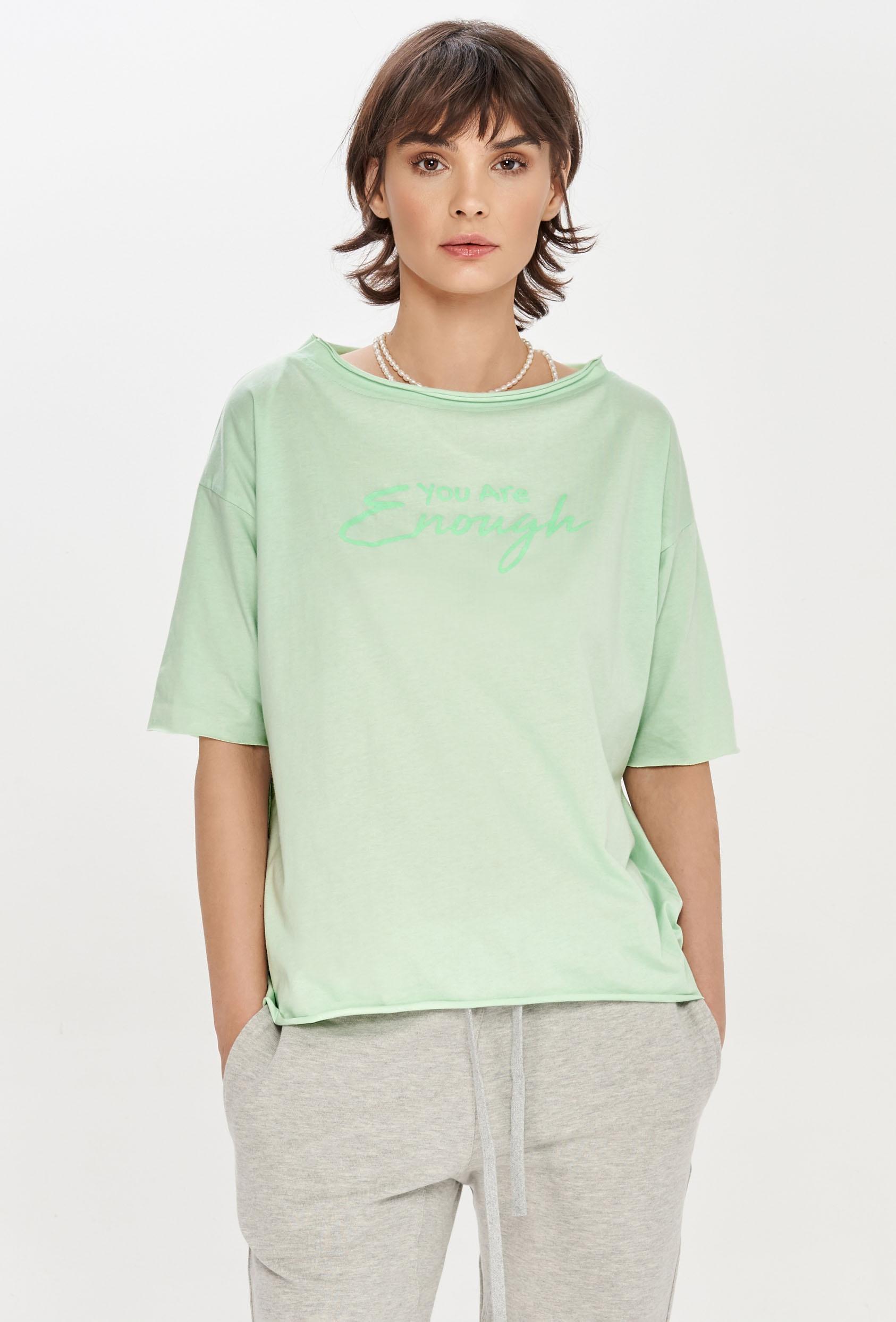 "Koszulka oversize MEGAN SUMMER T-SHIRT ""ENOUGH"" pistacjowa"