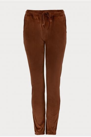 Spodnie welurowe MADALINE PANTS LTD brązowe_3