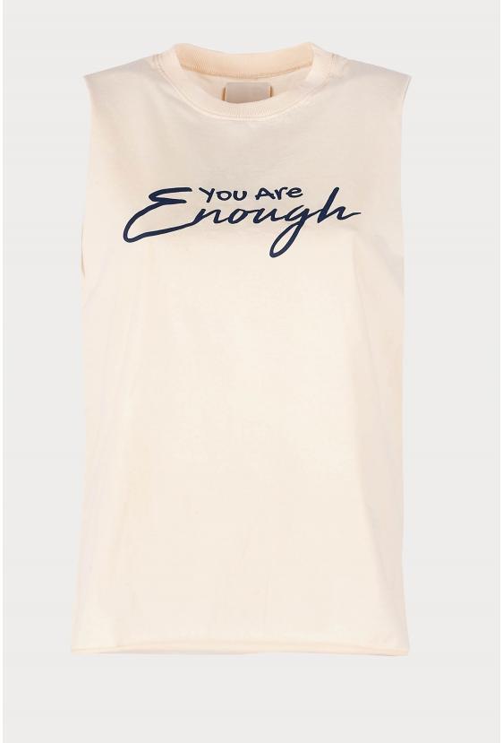 "Koszulka na ramiączkach ALEXIA TOP ""ENOUGH"" biszkoptowa"
