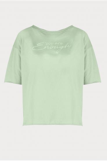 "Koszulka oversize MEGAN SUMMER T-SHIRT ""ENOUGH"" pistacjowa_3"