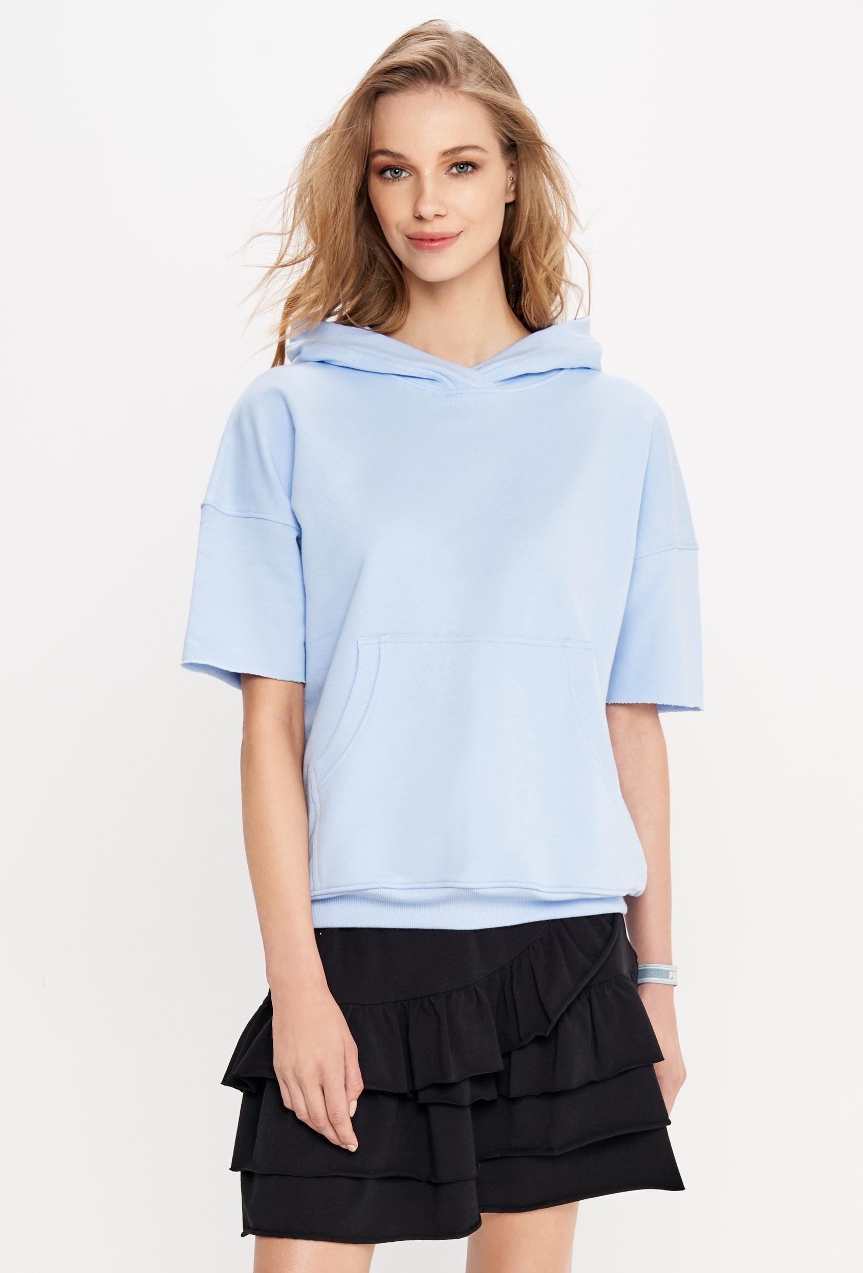 Bluza z kapturem CLEMENCE JUMPER błękitna