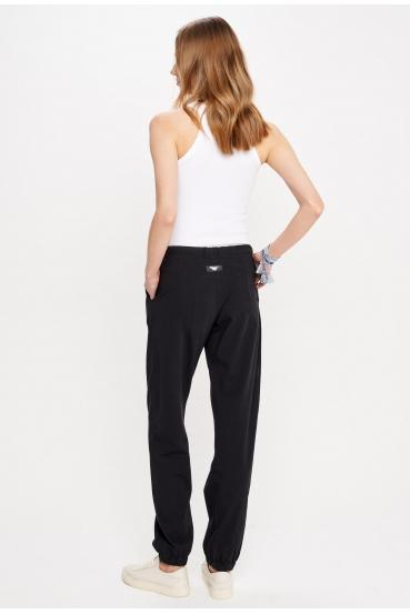 Spodnie bawełniane DELORA PANTS czarne_1