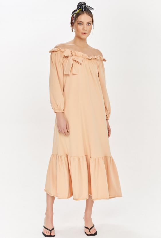 Sukienka maxi BRENNAN DRESS beżowa