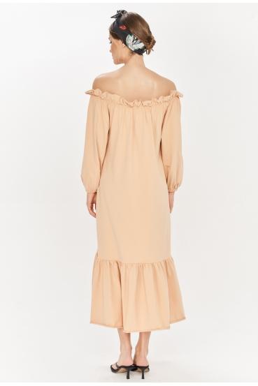 Sukienka maxi BRENNAN DRESS beżowa_1