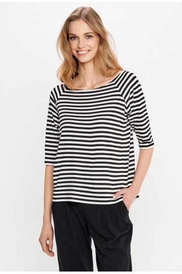 Koszulka prosta OLIVIA T-SHIRT WISKOZA paski czarno białe