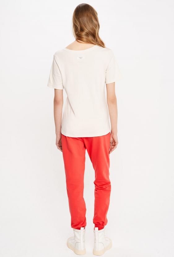Koszulka prosta ZALIA T-SHIRT kremowa