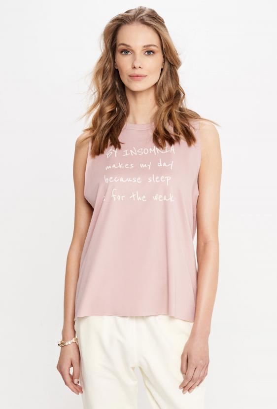"""Koszulka na ramiączkach ALEXIA TOP """"MAKES MY DAY"""" różowa"""