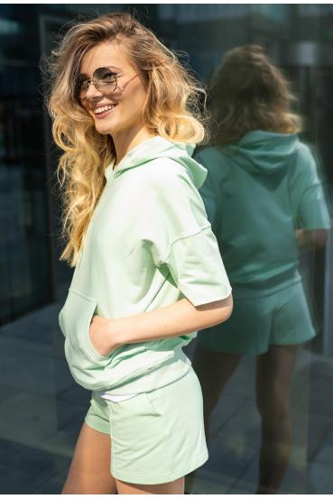 Bluza z kapturem CLEMENCE JUMPER pistacjowa