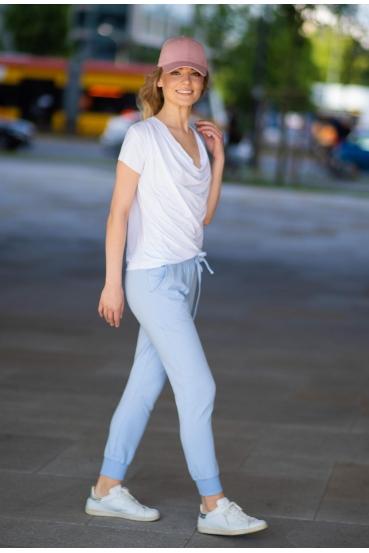 Spodnie bawełniane MADALINE PANTS błękitne_2