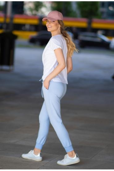 Spodnie bawełniane MADALINE PANTS błękitne_1