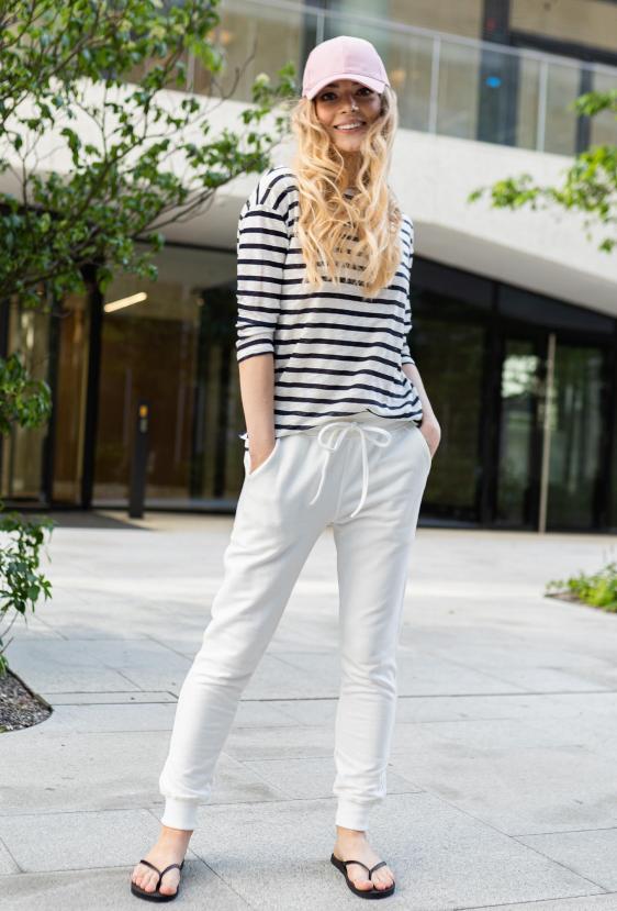 Spodnie bawełniane MADALINE PANTS kremowe