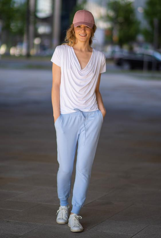 Spodnie bawełniane MADALINE PANTS błękitne