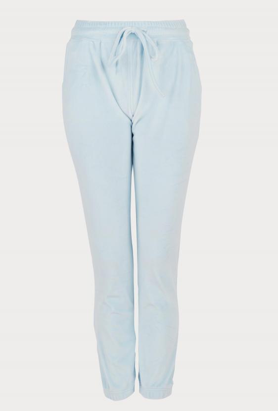 Spodnie welurowe MADALINE PANTS LTD błękitne