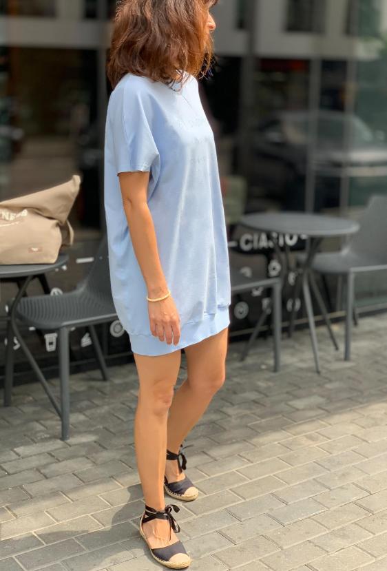 """Tunika bawełniana KRISSY TUNIC """"MAKES MY DAY"""" błękitna"""