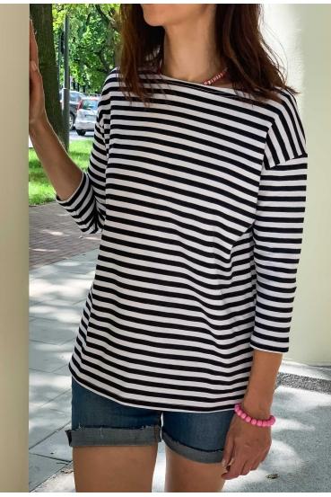 Koszulka prosta WEST T-SHIRT paski czarno białe