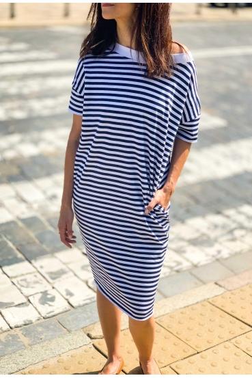 Sukienka mini ALANA DRESS 2 paski granatowo białe