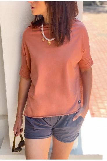 Koszulka oversize FOXY T-SHIRT 2 mahoniowy