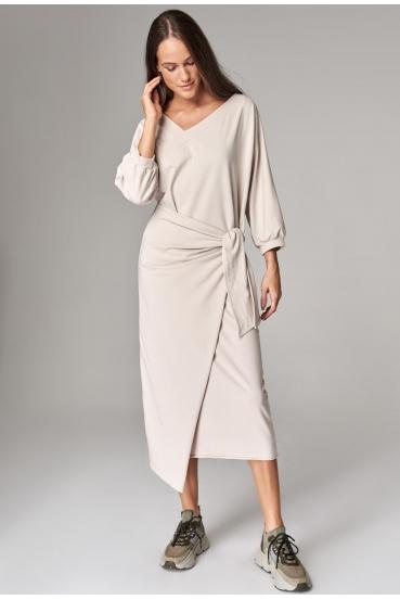 Sukienka midi YOLANDA DRESS przygaszony beż