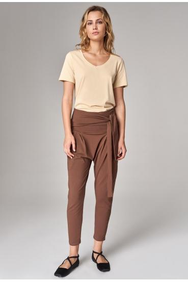 Spodnie bawełniane NORA PANTS miejski brąz
