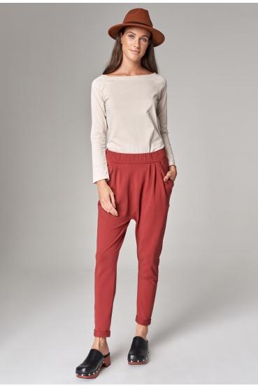 Spodnie bawełniane LALA PANTS 2 czerwone wino