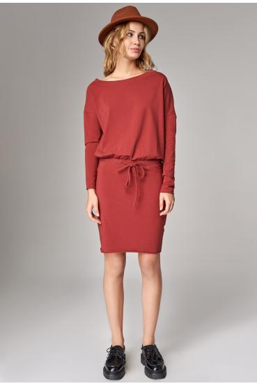 Sukienka mini BAMBI LONG DRESS czerwone wino