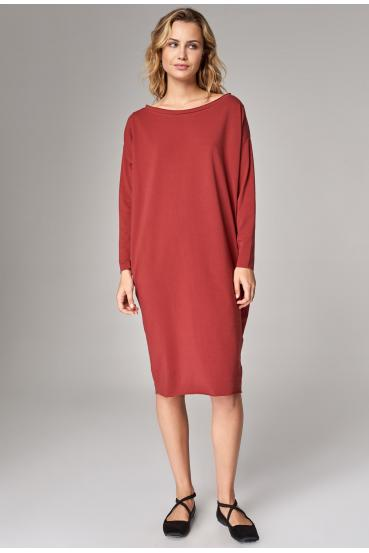 Sukienka oversize MEGAN MAXI LONG DRESS czerwone wino