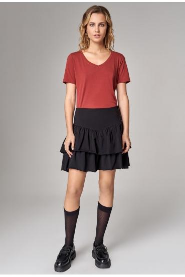 Koszulka prosta ZALIA T-SHIRT czerwone wino