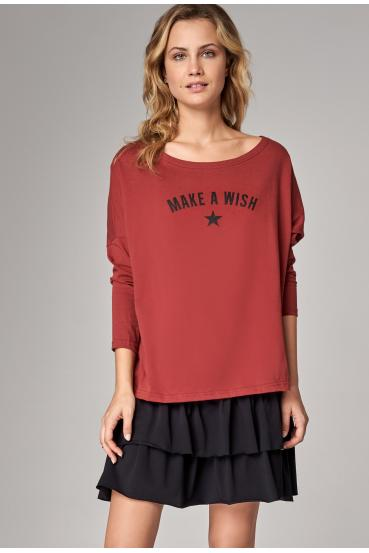 "Koszulka oversize NANETTE T-SHIRT LONG ""WISH"" czerwone wino"