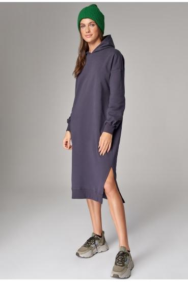 Sukienka midi z kapturem CASSANDRA DRESS nocne niebo