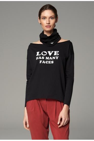 "Koszulka z długim rękawem MEGAN T-SHIRT LONG ""LOVE HAS"" czarny"