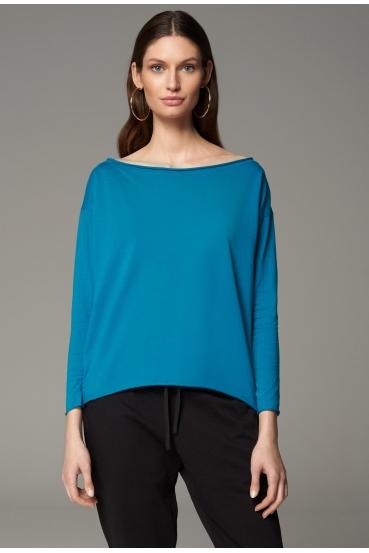 Koszulka z długim rękawem MEGAN T-SHIRT LONG turkusowy