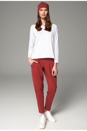 Spodnie bawełniane JUDY PANTS czerwone wino
