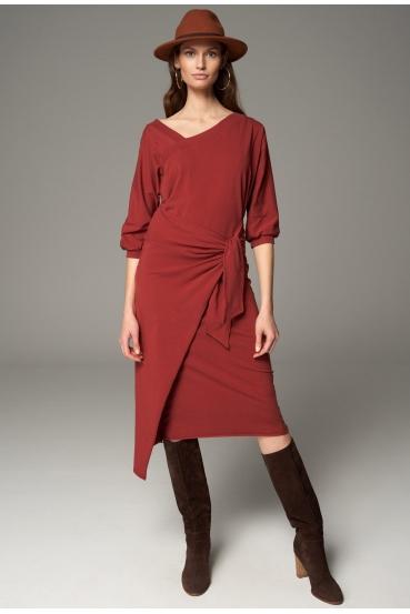 Sukienka midi YOLANDA DRESS czerwone wino