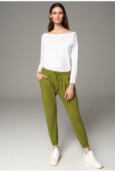 Spodnie proste ZAHARA PANTS oliwkowe